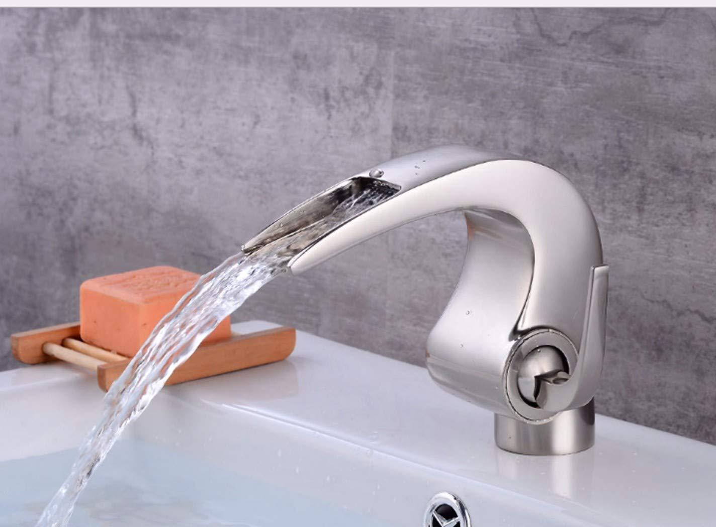 GiiWii Badezimmer Wasserfall Hahn Retro Kupfer Metall Silbrigen Beschichtung Für Waschbecken Kaltes Und Warmes Wasser Mischen