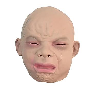 Halloween látex asqueado llorar cara de bebé disfraz máscara de Halloween cabeza de fiesta completa