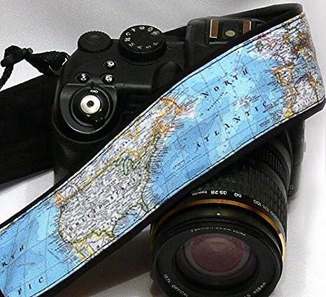 Mapa del mundo cámara Correa. Correa de correa de cámara, DSLR ...