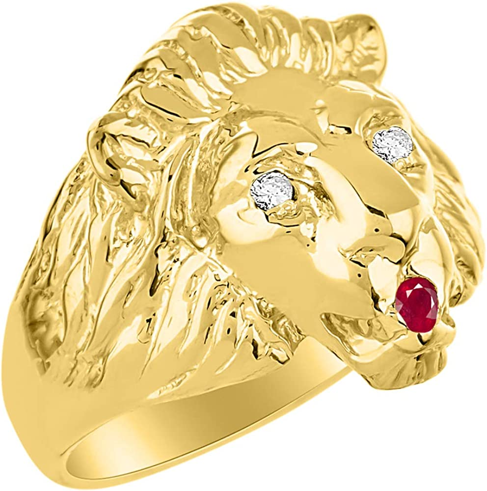 RYLOS Lion Head Ring with Genuine Diamonds /& Precious Stones Set in 14K Yellow Gold Plated Silver .925