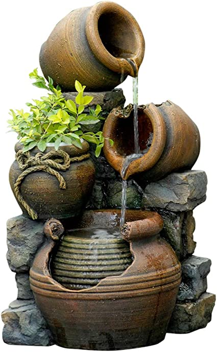 Amazon Com Jeco Polyresin And Fiberglass Multi Pots Fountain Garden Outdoor
