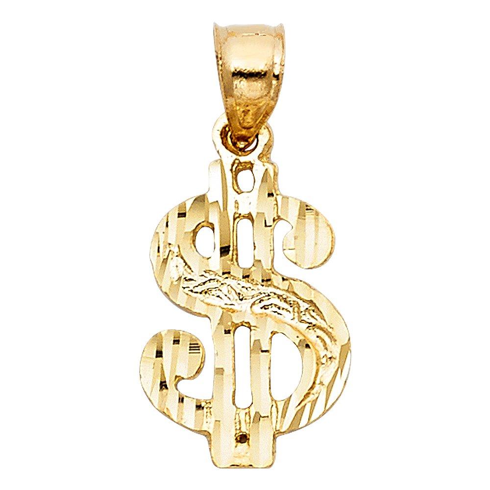 Paradise Jewelers 14K Yellow Gold Dollar Sign Pendant