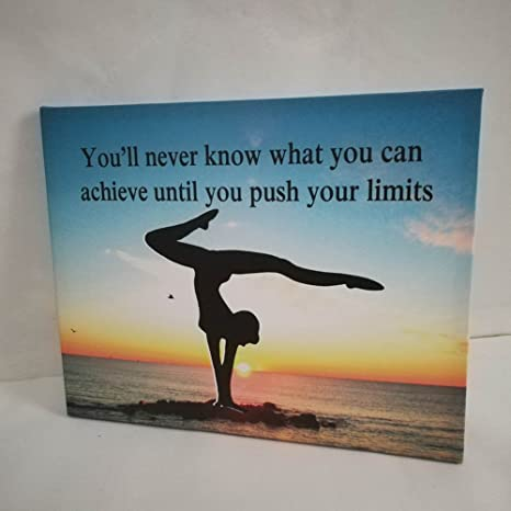 Push Your Limits Do Exercise Yoga on The Beach Picture Printed on Canvas Wall Art for Gym Room Decor and Yoga Wall Art and Framed Wall Art for Home ...