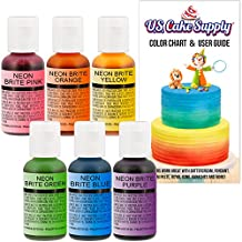 US Cake Supply by Chefmaster Airbrush Cake Neon Color Set - The 6 Most Popular Neon Colors in 0.7 fl. oz. (20ml) Bottles