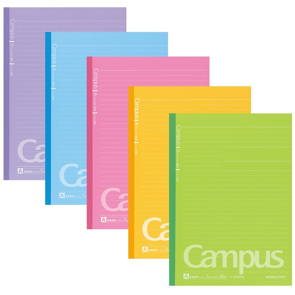 Kokuyo Campus Notebooks Semi B5-dotted, 7 mm Ruled - 30 Lines X 30 Sheets - Pack of 5 Vitamin Color (1 Set)