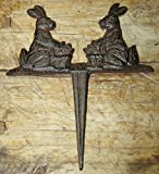Cast Iron BUNNY Sign Garden Stake Home Decor RABBIT Plaque Easter Basket Spring by OutletBestSelling