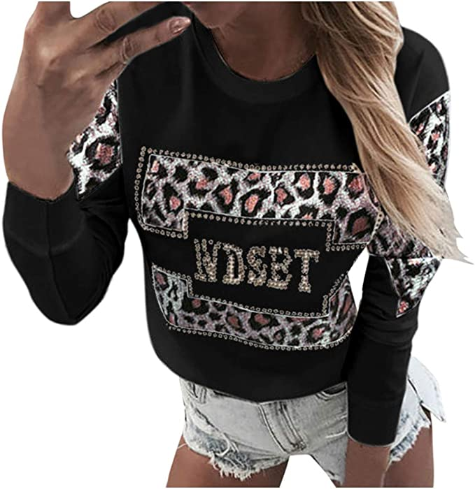 Women Gothic Casual Leopard Printed T-Shirt Loose Long Sleeve Fashion Blouse Top