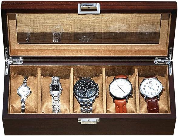 LIYANSBH Caja de Reloj Vitrina de Reloj de Madera for Hombres 5 Relojes con Tapa de Cristal, Regalos for el cumpleaños del día de la Madre Regalos: Amazon.es: Hogar