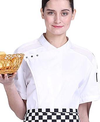 Dooxii Unisexo Hombre Mujeres Verano Manga Corta Camisa de Cocinero Transpirable Pastel para Hornear Chaquetas de Chef Uniforme Cocina Restaurante Occidental: Amazon.es: Ropa y accesorios
