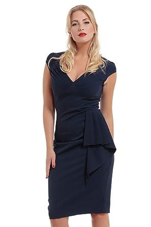 1bbe4a0ba7 VOODOO VIXEN Khloe Ruffle Navy Blue Pencil Dress-Blue-XL: Amazon.co.uk:  Clothing