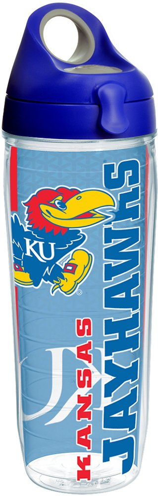 Tervis 1220737 Kansas Jayhawks College Pride Tumbler with Wrap and Blue with Gray Lid 24oz Water Bottle, Clear