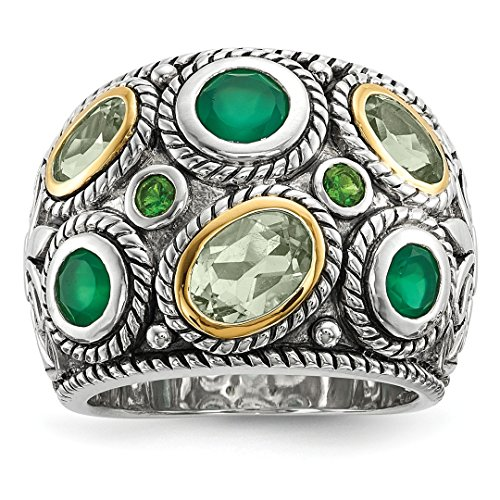 925 Sterling Silver 14k Green Quartz Black Onyx Peridot Dome Band Ring Size 8.00 Gemstone Fine Jewelry Gifts For Women For -