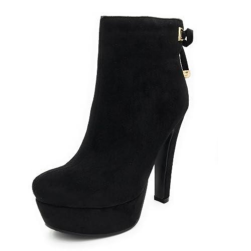 Cuckoo Botines para Mujer con Tacones Plataforma Botines Negros: Amazon.es: Zapatos y complementos