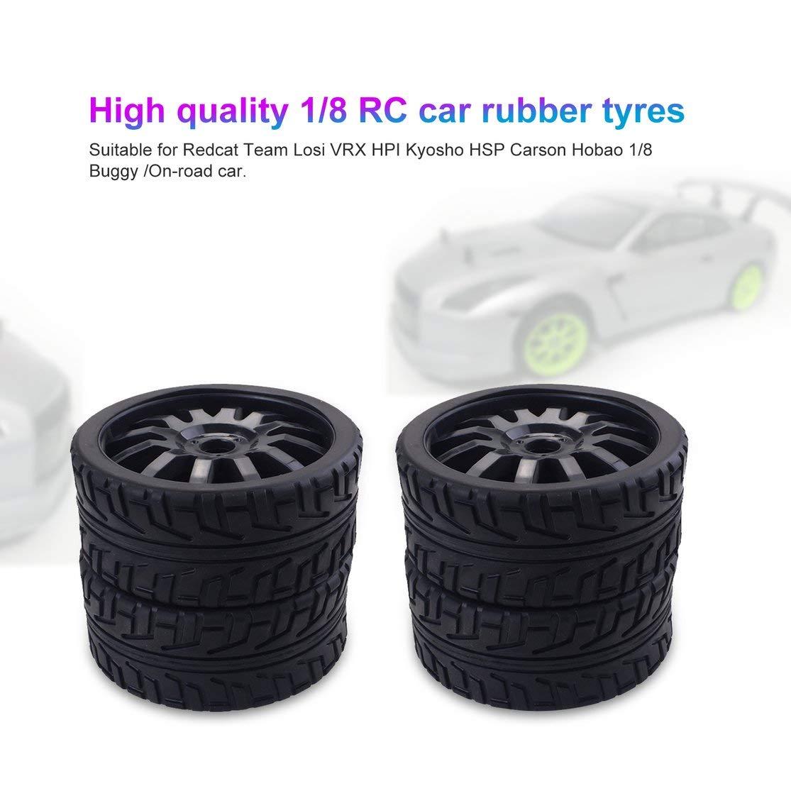 LouiseEvel215 4 Pezzi 1//8 RC Auto Gomme di plastica Ruote in plastica per Redcat Team Losi VRX HPI Kyosho HSP Carson Hobao 1//8 Buggy//On-Road Car