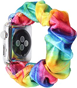Scrunchie Elastic Band Compatible for Apple Watch Band 38mm 40mm 42mm 44mm, women Cloth Cow Print Replacement Wristband for IWatch Series 5 3 4 2 1, 38mm 40mm Rainbow