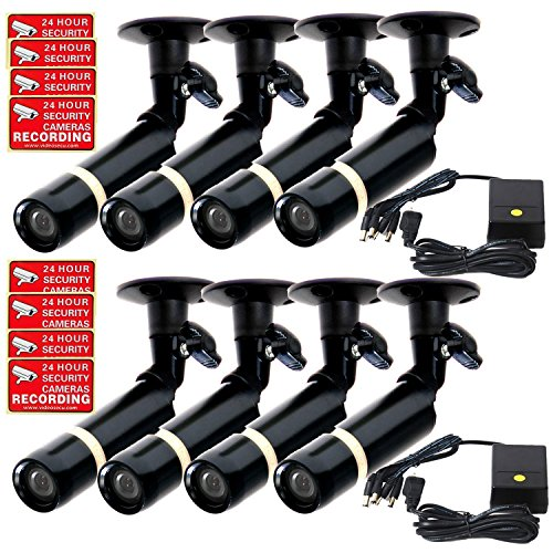 - VideoSecu Bullet Security Cameras Kit 480TVL 3.6mm Wide View Angle Lens Built-in Color DSP Sony CCD Weatherproof Outdoor Indoor CCTV Home Surveillance Cameras 8 Pack CP9