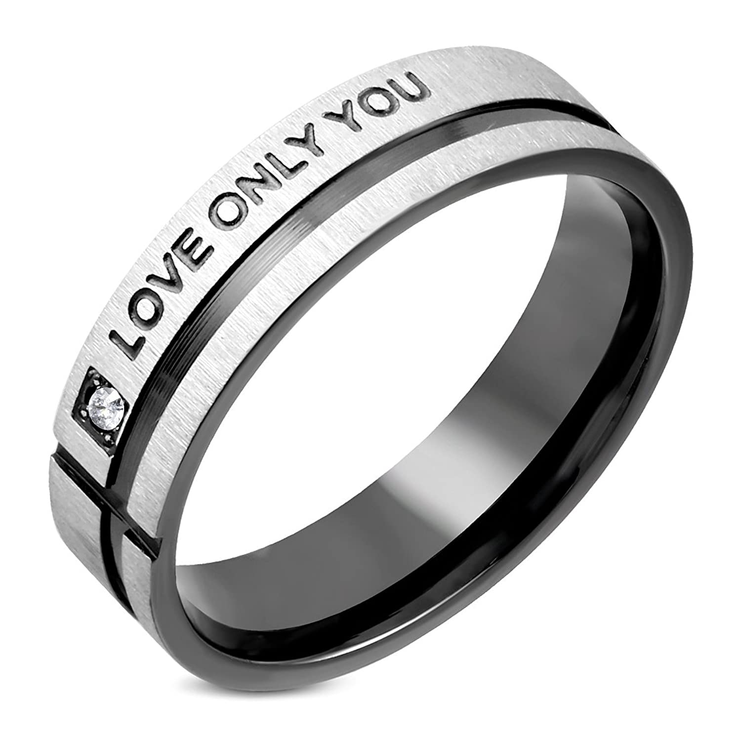 Stainless Steel 2 Color Affirmation-Love Comfort Fit Wedding Flat Band Ring