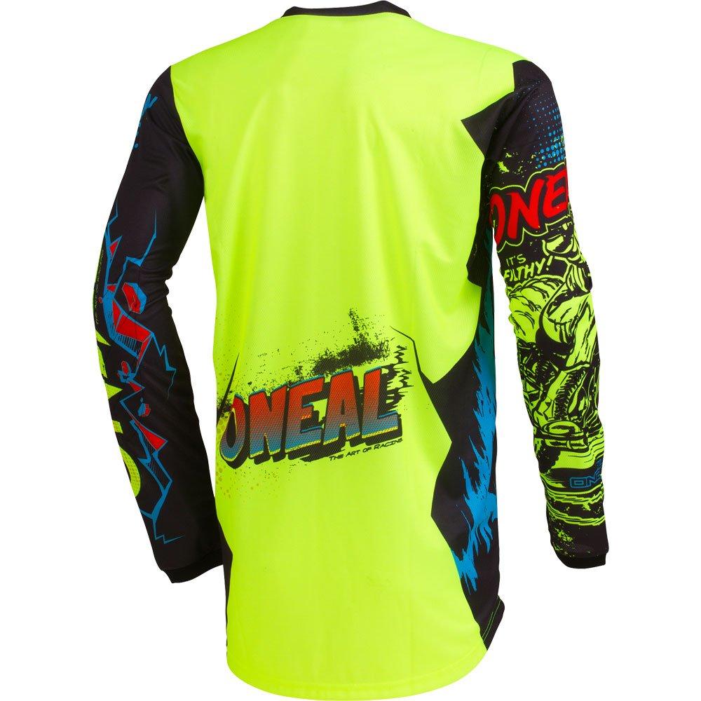 ONeal Element Villain Neon Yellow Adult motocross MX off-road dirt bike Jersey Pants combo riding gear set Pants W36 // Jersey Large
