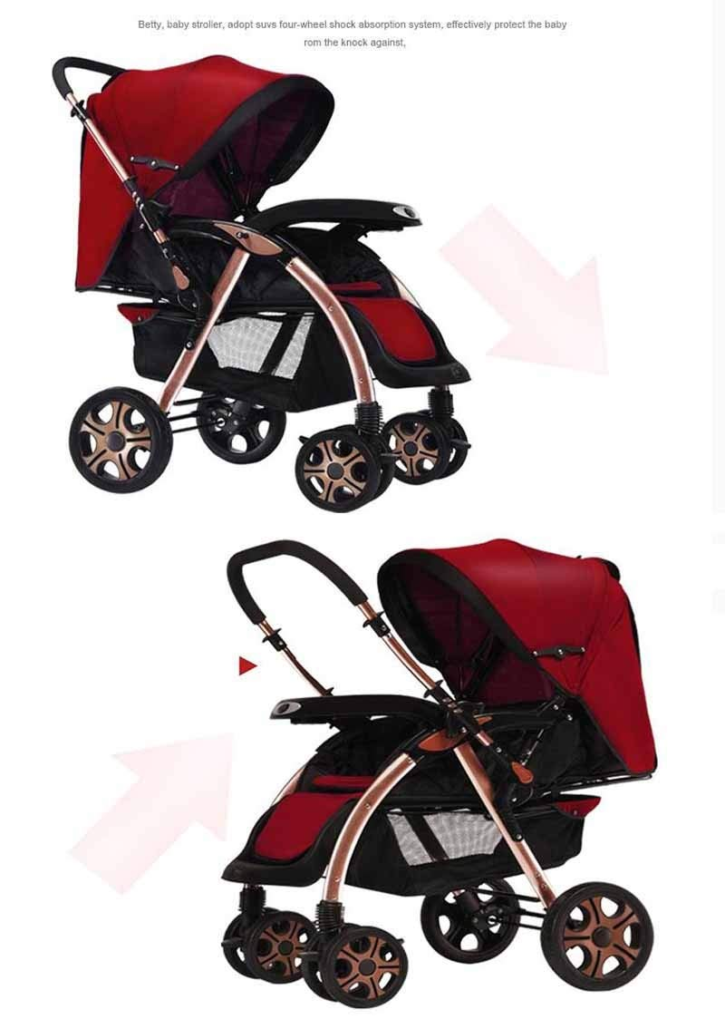 Baby Trolley, Four-Wheel Damping-Lightweight Folding -0/3 Years Old Child Cart High Landscape Portable Infant Carriage (Color : Purple)