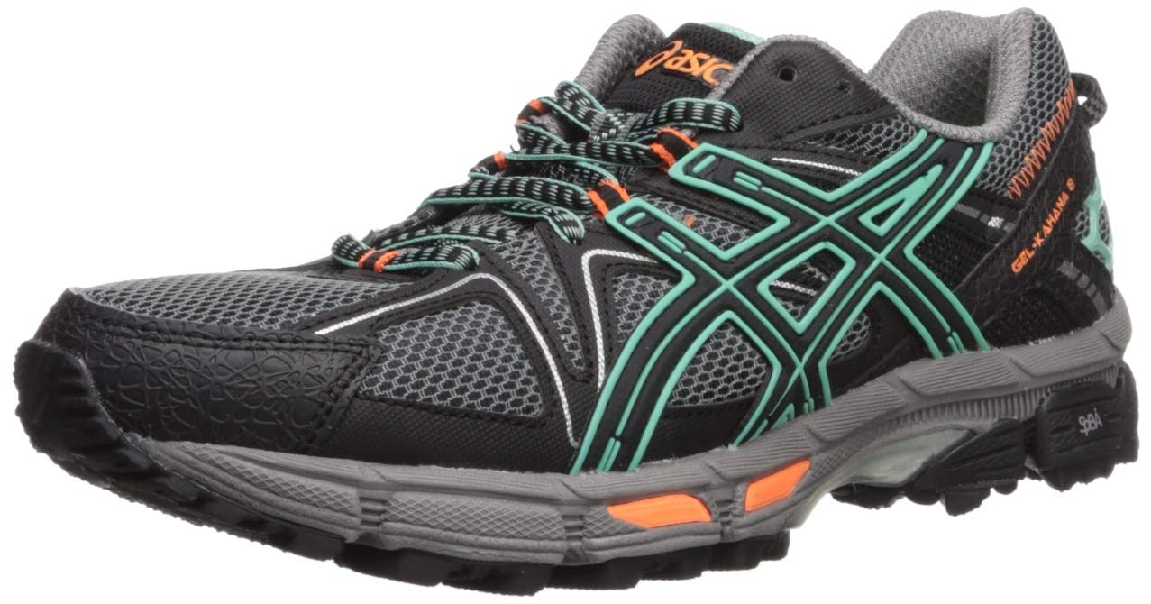 ASICS Womens Gel-Kahana 8 Running Shoe, Black/Ice Green/Hot Orange, 7 Medium US by ASICS