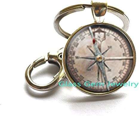 Lot Of 5 Pcs Maritime Gift Antique Brass Pocket Compass Key Chain Christmas Gift