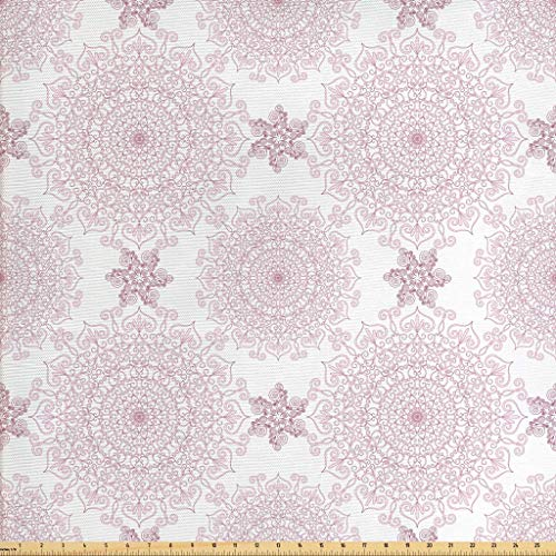 (Ambesonne Purple Mandala Fabric by The Yard, Victorian Damask Style Vintage Ethnic Pattern with Rococo Effect Print, Decorative Fabric for Upholstery and Home Accents, 1 Yard, Pale Pink White)