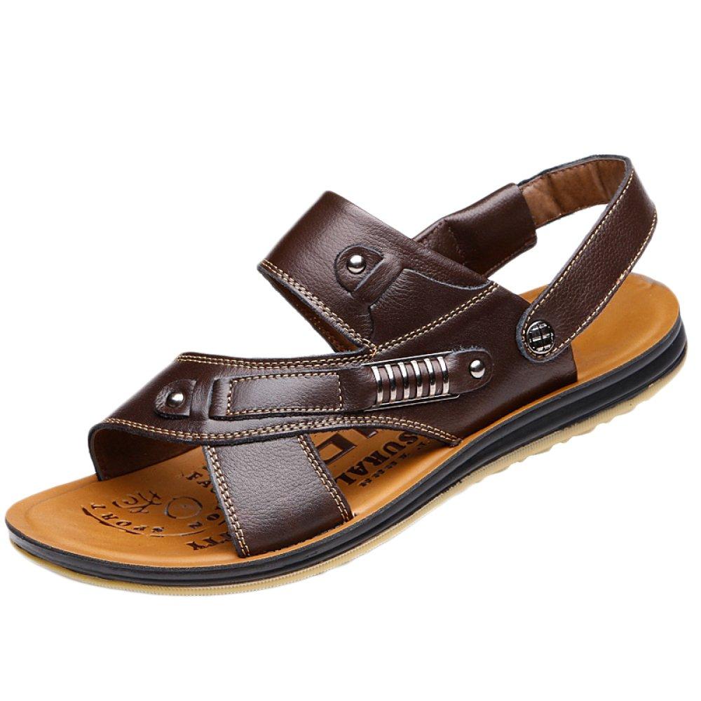 snfgoij Sandalias Para Hombres Deportes Al Aire Libre Ajustables Zapatos De Playa Cómodos Verano Punta Abierta Cuero De Tendón De Carne Antideslizante 46 EU|Brown