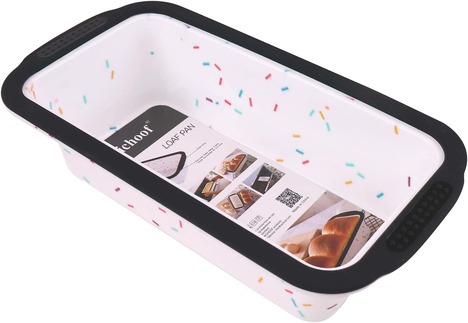 Silicone Loaf Pan with Reinforced Steel Frame Inside,Non-stick Loaf Mould for Homemade Baking Cakes and Bread,BPA Free,Dishwasher,Oven and Microwave safer,Aichoof