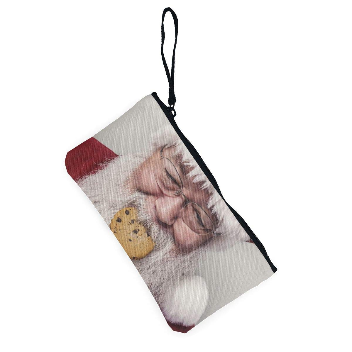 Make Up Bag,Cellphone Bag With Handle Santa Clause Eating Cookie Zipper Canvas Coin Purse Wallet