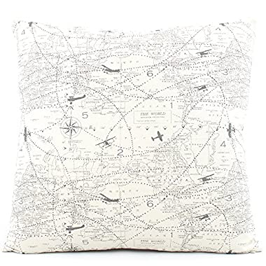 Chloe & Olive Atlas We're Here Gray Collection Airplane and Map Reversible Pillow Cover (1 Pillow Cover), 18-Inch, Gray