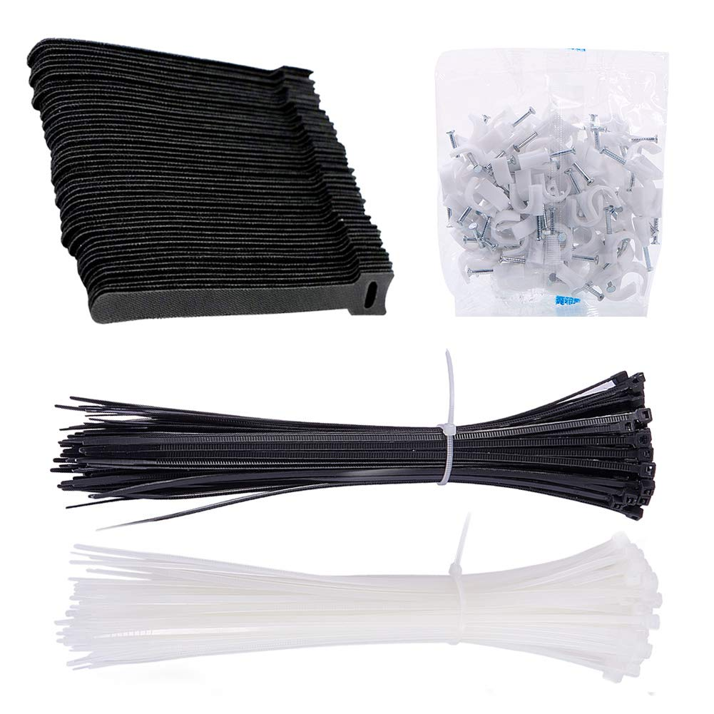 INCREWAY 350pcs Cable Tie and Cable Staples Set:8'' Durable Self Locking White/Black Nylon Zip Cable Ties,6'' Black Reusable Fastening Cable Ties and 10mm Cable Management