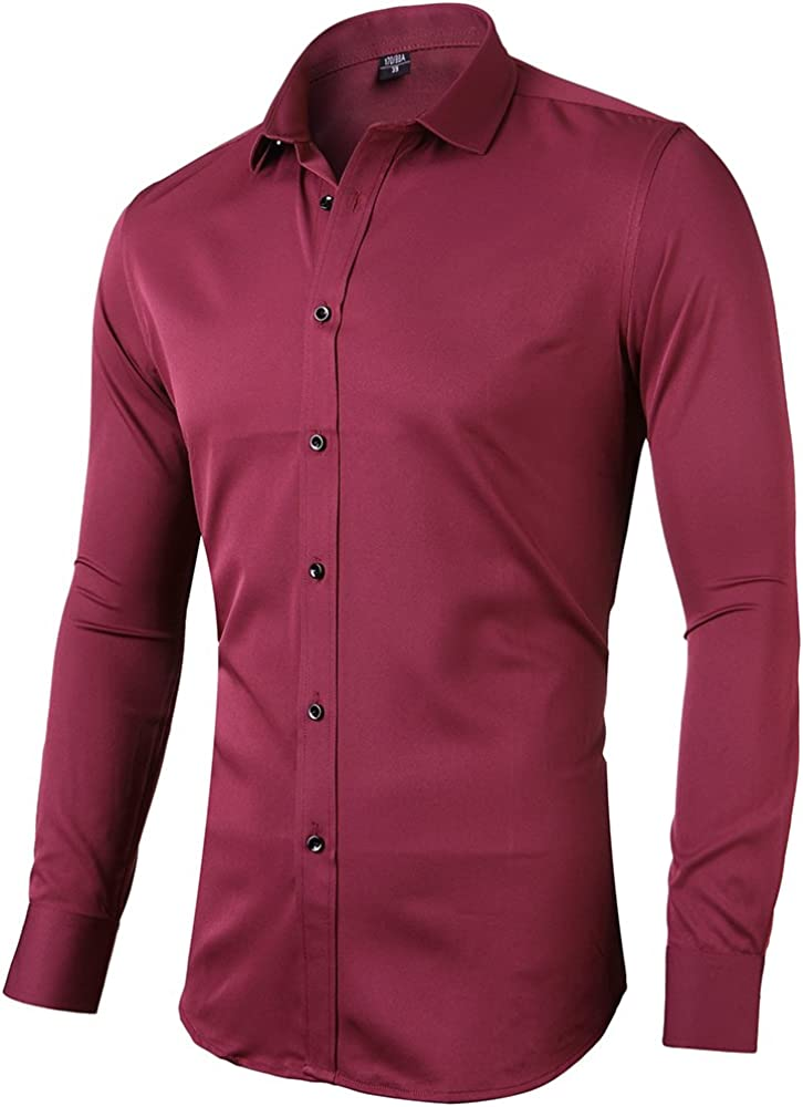 TALITARE Mens Bamboo FiberSlim Fit Shirt Spread-Collar Soild Long Sleeve Casual Formal Shirt for Men
