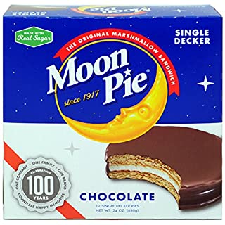 MoonPie Single Decker Chocolate Marshmallow Sandwich - 2oz, 12Count Box (Pack of 8 Boxes, 96Count Total)   Chocolate Covered Graham Cracker & Marshmallow Pie