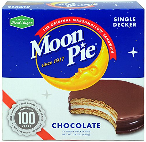 MoonPie Single Decker Chocolate Marshmallow Sandwich - 2oz, 12Count Box (Pack of 8 Boxes, 96Count Total) | Chocolate Covered Graham Cracker & Marshmallow Pie -