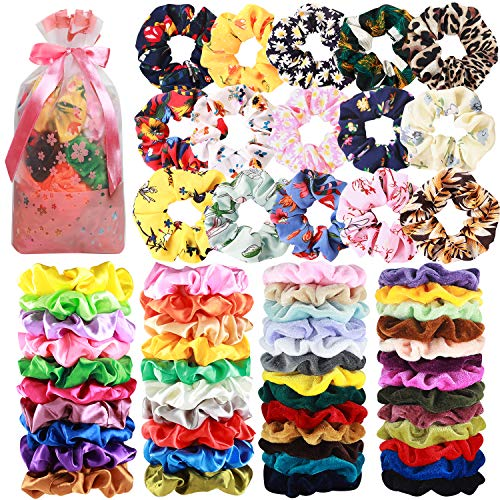 65 Pcs Hair Scrunchies Velvet Hair Scrunchies Silk Scrunchies Chiffon Flower Scrunchies Elastic Hair Ties Ropes Scrunchie for Women or Girls Hair Accessories for Christmas New Year Gift