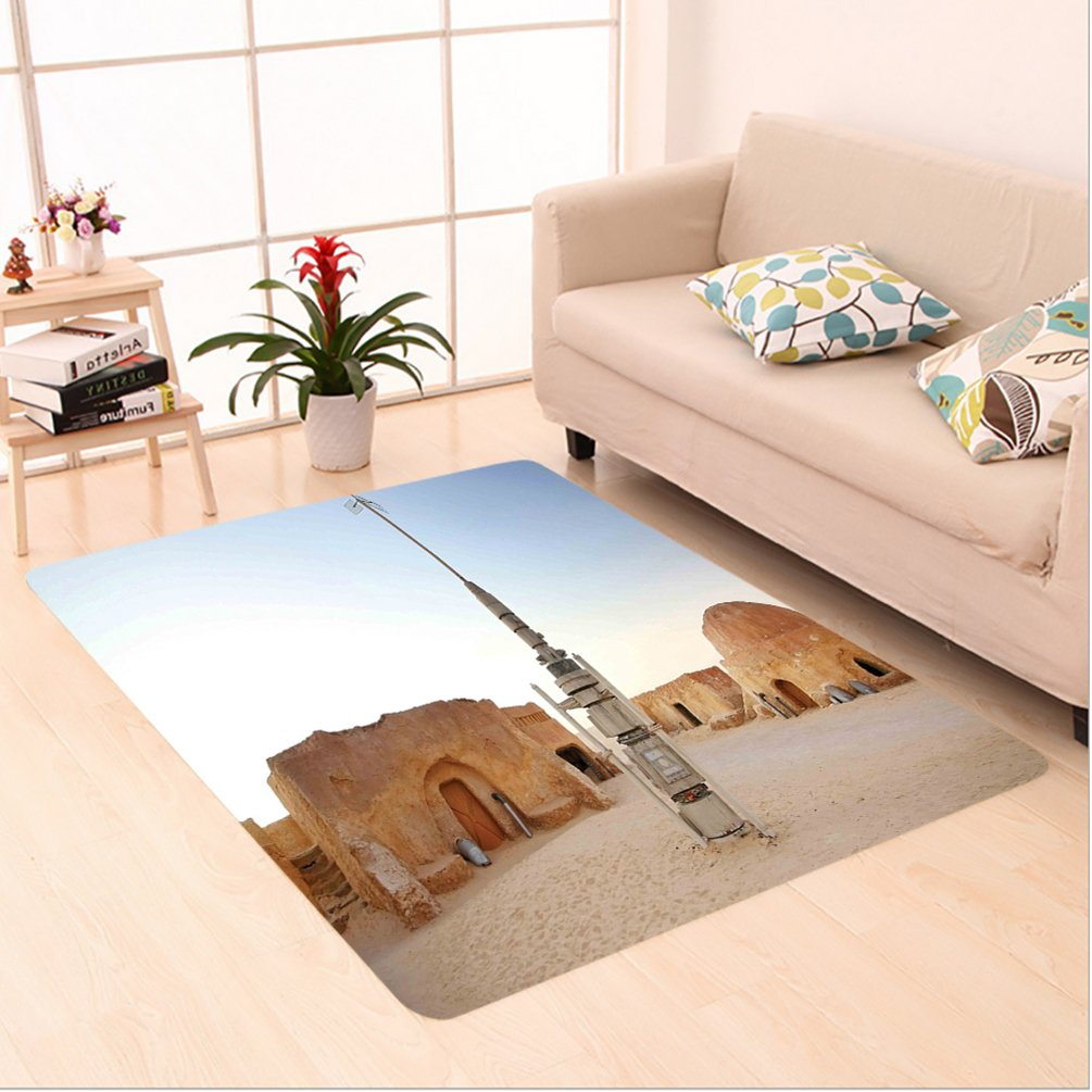 Nalahome Custom carpet axy Image of Fantasy Movie Set Town of Fantasy Planet Out of Space Galaxy Wars Themed Brown Blue area rugs for Living Dining Room Bedroom Hallway Office Carpet (5' X 8')