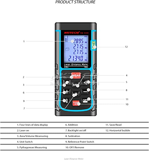 Nktech Medidor de distancia l/áser de 40 m 60 m 80 m 100 m NK-T40 Auto Tester MAX//MINM ft /Área Medida Volumen Pythagoras Herramientas de Regla El/éctrica