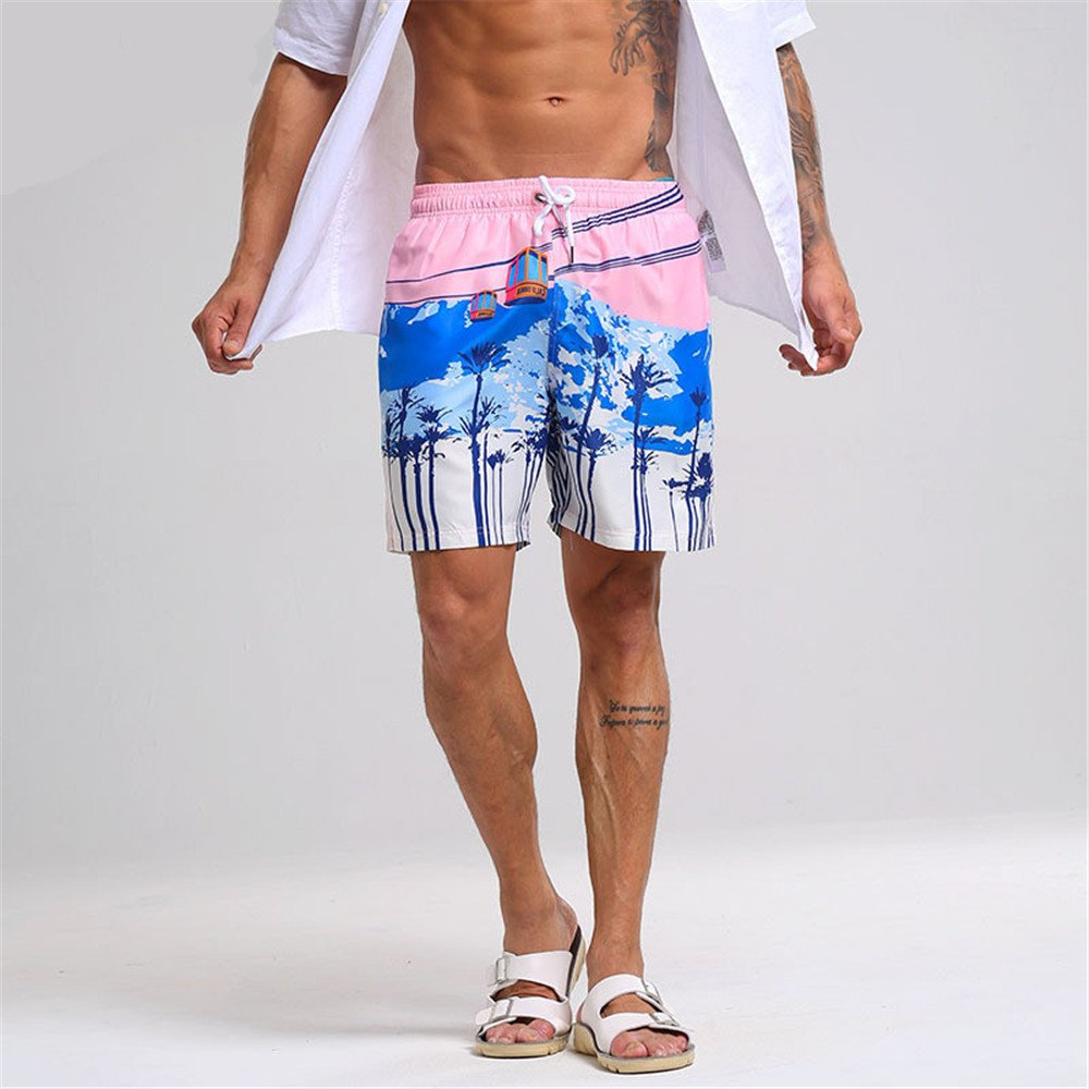 - Men's Men's Men's Swimming Shorts Men's Swimming Trunks Beach Resort Beach Pants Waterproof Hot Spring Pink Print Pants Quick-Drying Swimming Trunks Mens Quick Dry Swim Trunks (Size   XL) 5d1f15