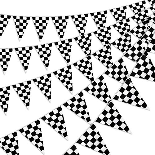 RUBFAC 170ft 120pcs Checkered Black and White Pennant Banner Racing Flags Checkered Flags for Decorations, Birthdays, Event Supplies, Festivals