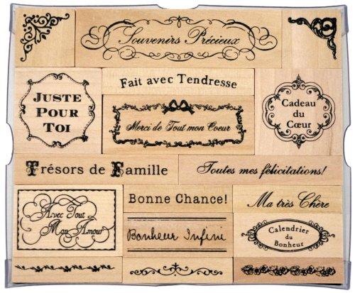 Tokyo Antique France Phrase Rubber Stamp Set
