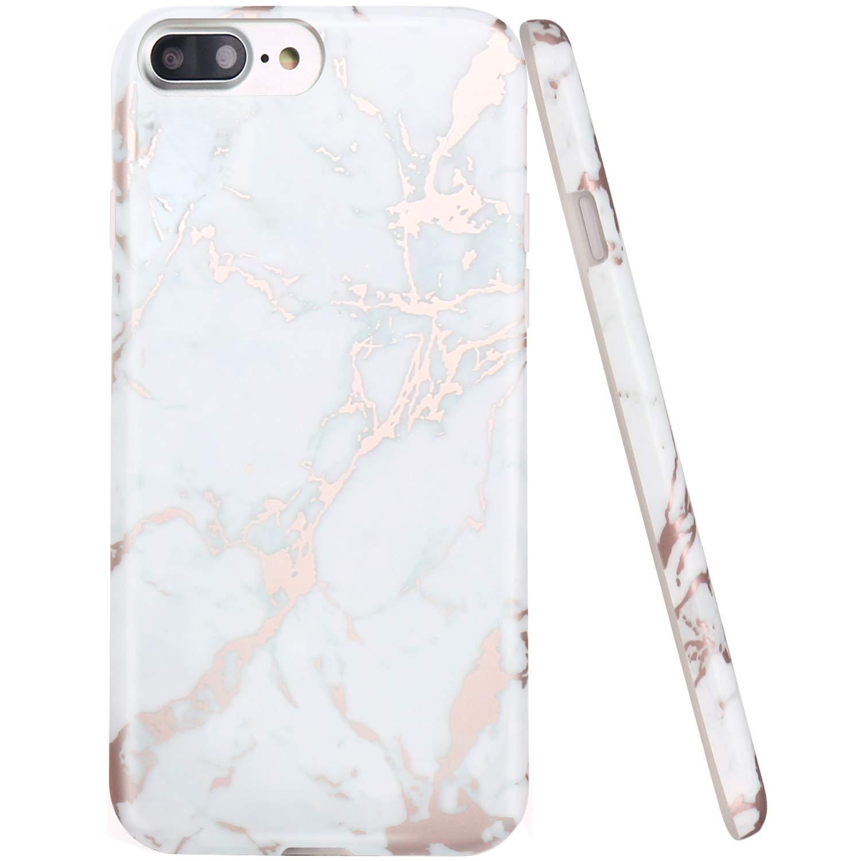 iPhone 7 Plus Case, JAHOLAN White Marble Design Clear Bumper Glossy TPU Soft Rubber Silicone Cover Phone Case for Apple iPhone 7 Plus (2016) / iPhone 8 Plus (2017) FBA_jhl-7 plus-dalishi white black