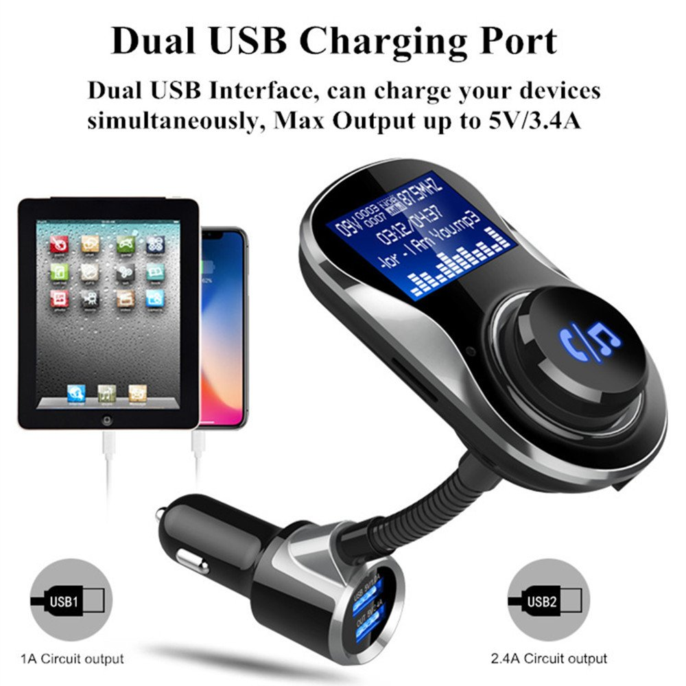 BC-26 HandFree Safe Driving Compatible iPhone Samsung Wireless Car Radio Adapter Stereo Modulator with QC3.0 Dual USB Ports LED Display One Key Control ELEOPTION Bluetooth FM Transmitter for Car