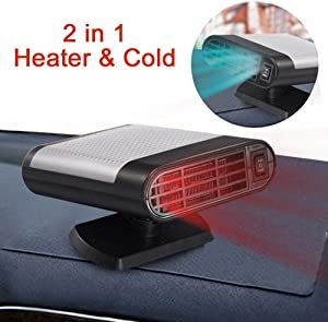 SONYANG Upgrade Car Heater, 2 in 1 Portable Fast Heating Car Heater with Heating & Cooling Function Defroster Defogger 12V 150W Demister Vehicle Heater Fan for Windshield (Gray)
