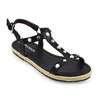 fb9aba6185c ESSEX GLAM Womens Flat Strappy Espadrilles Sandals Ladies Studded Summer  Platform Shoes 3-8