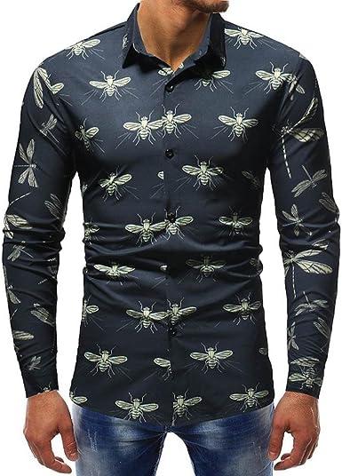 Camisa De Manga Larga Estampada De Hombre ❤️AIMEE7 Camisas Hombre Playa Camisetas Hombre Algodón Camisas Vintage Hombre Camisas Hombre Manga Larga El Ganso: Amazon.es: Ropa y accesorios