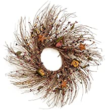Your Hearts Delight Berries, Bird Houses and Stars Twig Wreath, 20-Inch
