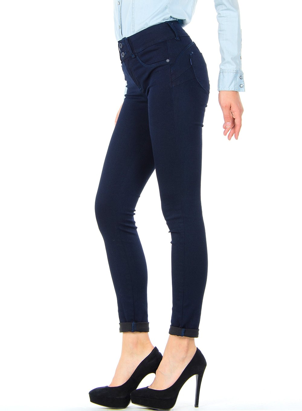 2 Size Skinny 10007884 para Mujer One Up Unwashed Blue Vaqueros Tiffosi Double Azul JEANS np8Iq4gw