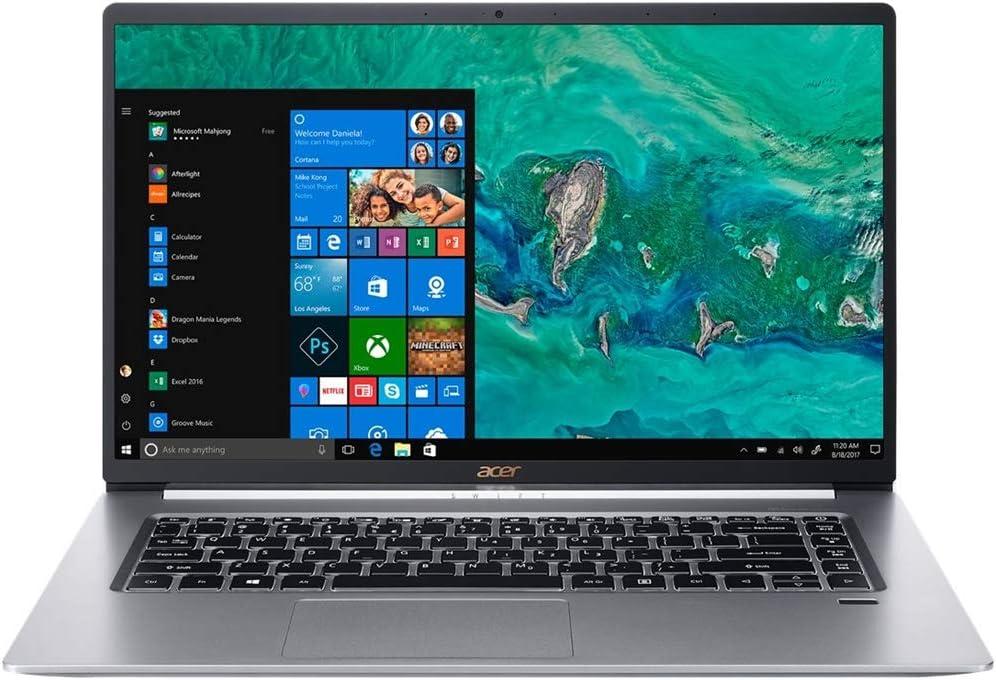 "Acer Swift 5 15.6"" Ultra-Thin & Lightweight Laptop, FHD Touchscreen, Intel Core i7-8565U, IPS, Back-lit Keyboard, Windows 10, Silver (16GB RAM | 512GB PCIe SSD + 512GB SSD)"