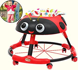 Yuany Height-Adjustable Baby Walker,Multi-Functional Baby Walker, with Music Anti-Rollover Walker, for Baby with Easy Clean Tray,Maximum Load 15 Kg,for Girls Boys 6-18Months Toddler