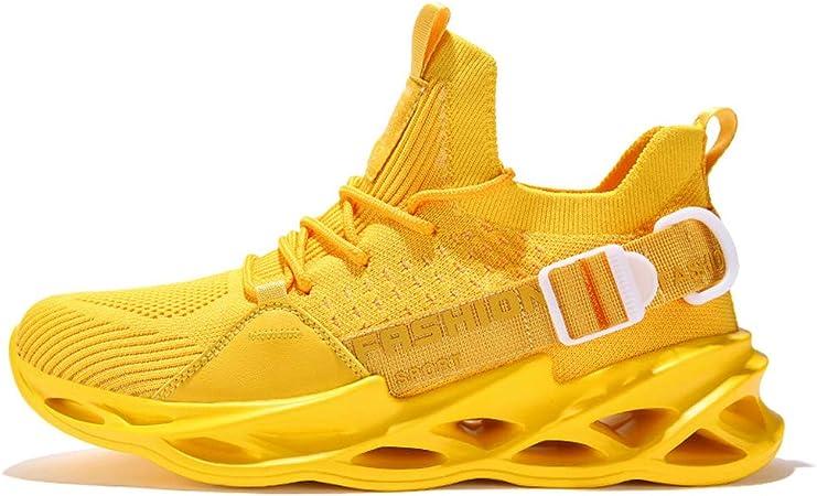 SXFGML Zapatillas Running Hombre Sneakers Calzado Deportivo Hombre Zapatos Transpirables Gimnasio Caminar,Amarillo,36: Amazon.es: Hogar